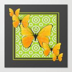 Gray Green Pattern  Yellow Butterflies Art Canvas Print