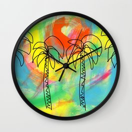 Palm Trees Wish You the Best Wall Clock