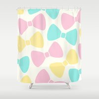 bows Shower Curtains featuring Pastel Bows by XOOXOO