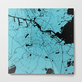 Amsterdam Turquoise on Black Street Map Metal Print