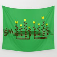 music notes Wall Tapestries featuring Music notes garden by Picomodi