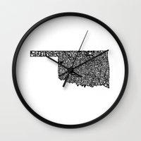oklahoma Wall Clocks featuring Typographic Oklahoma by CAPow!
