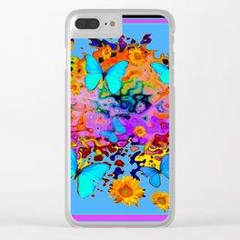 Black Decorative Blue Butterflies Floral Art Clear iPhone Case
