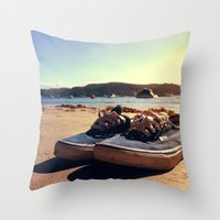 vans Throw Pillows featuring Beached Vans by Zakvdboom Designs
