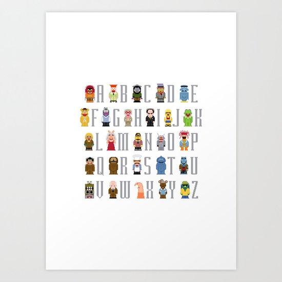 Pixel Muppet Show Alphabet Art Print