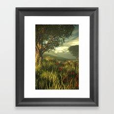 Summer tree in a poppy field Framed Art Print