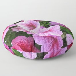 Vibrant Pink and Red Petunia Flowers Floor Pillow
