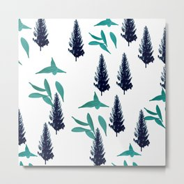 Trees & Leave on a White Crisp Background Metal Print