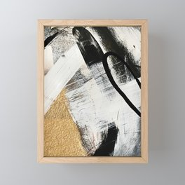 Armor [9]: a minimal abstract piece in black white and gold by Alyssa Hamilton Art Framed Mini Art Print