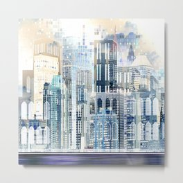 Blue City Scape Metal Print