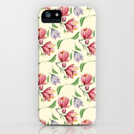 Botanical pink coral lilac watercolor magnolia pattern iPhone Case