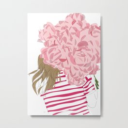 Pink Flower Red Stripe Girl Metal Print