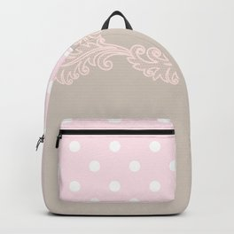 pink beige white lace trim Backpack