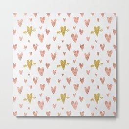Yellow Rose Gold Hearts Pattern Metal Print