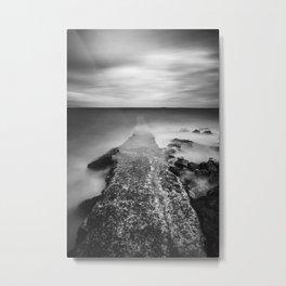 Disappearing pier in sea Metal Print