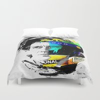senna Duvet Covers featuring Ayrton Senna do Brasil - White & Color Series #4 by Universo do Sofa - Artes & Etecetera