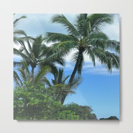 Romantic Palm Trees in Azure Blue Tropical Sky Metal Print
