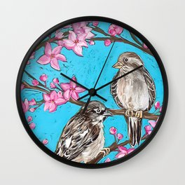 Spring Sparrows and Cherry Blossoms Wall Clock