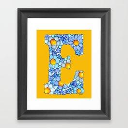 Blue Daisy Letter/ Initial E on Yellow-Orange Background Framed Art Print