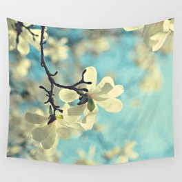 white magnolia Wall Tapestry