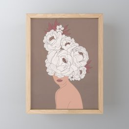Woman with Peonies Framed Mini Art Print