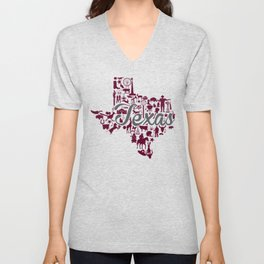Texas A&M Landmark State - Maroon and Gray Texas A&M Theme Unisex V-Neck