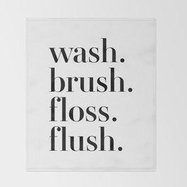 Wash Brush Floss Flush Throw Blanket