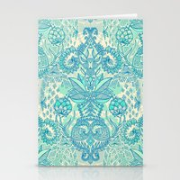 bedding Stationery Cards featuring Botanical Geometry - nature pattern in blue, mint green & cream by micklyn
