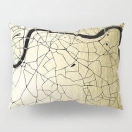 London Gold on Black Street Map Pillow Sham