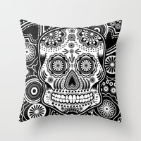 sugar skull Throw Pillows featuring sugar skull by Ancello