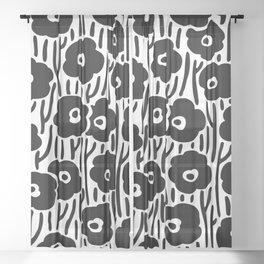 Mid Century Modern Wild Flowers Black and White Sheer Curtain