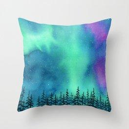 """Wilderness Lights"" Aurora Borealis watercolor landscape painting Throw Pillow"