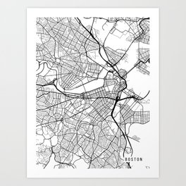 Boston Map, Massachusetts USA - Black & White Portrait Art Print