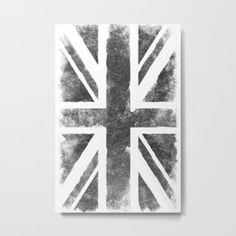 United Kingdom Gray Vintage flag Metal Print