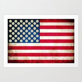 Grunge American Flag and 45 ACP Case Heads Art Print