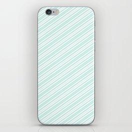 Vintage elegant pastel green white stripes iPhone Skin