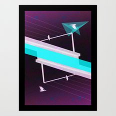 across the grey Art Print