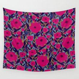 Layered Leaf Floral Fuchsia Wall Tapestry