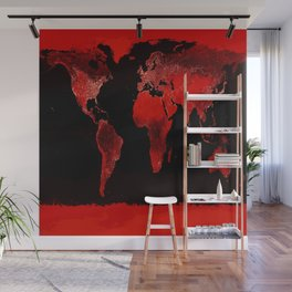 WORLD map : Red Wall Mural