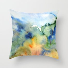 watercolor fall trees Throw Pillow