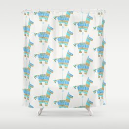 Mexican Donkey Piñata – Blue & Gold Palette Shower Curtain