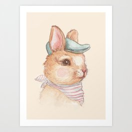 Bunny With Hat Art Print