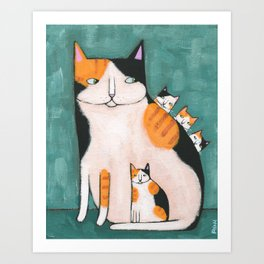 Calico Mom and Kittens Art Print