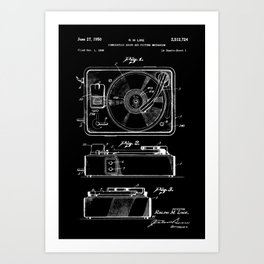 Turntable Patent - White on Black Art Print