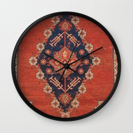 Southwest Tuscan Shapes II // 18th Century Aged Dark Blue Redish Yellow Colorful Ornate Rug Pattern Wall Clock