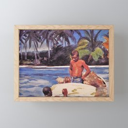 Winslow Homer's African American Masterpiece, Father & Son, The Coral Reefs, The Florida Keys landscape painting Framed Mini Art Print