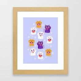 Lucky Waving Kitty Cat Maneki Neko Framed Art Print