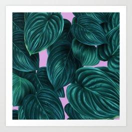 tropical green pattern on pink Art Print