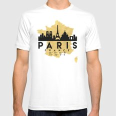 PARIS FRANCE SILHOUETTE SKYLINE MAP ART White Mens Fitted Tee MEDIUM
