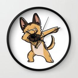 Funny German Shepherd Dabbing Wall Clock